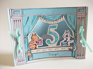 Mini Theatre Age Five Card - birthday cards