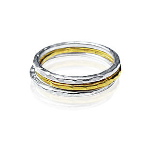 Tiny Beaten Bands Set Of Three - women's jewellery