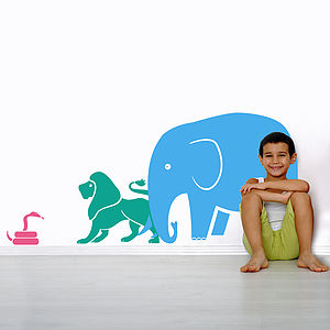 Elephant And Lion Safari Wall Stickers - office & study