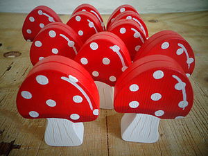 Wooden Toadstool Decoration/Placecard Holder - place card holders
