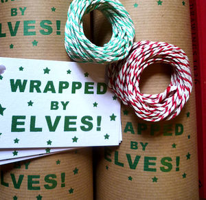 'Elves' Hand Printed Gift Wrap Set - wrapping paper