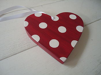 Wooden Spotty Heart