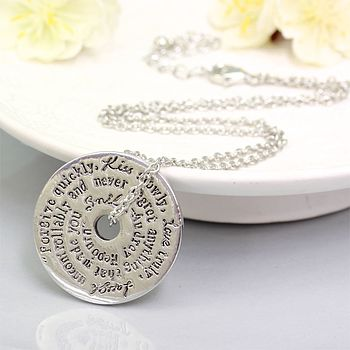 Words To Live By Necklace In Silver