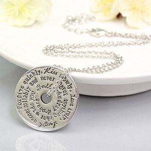 Words To Live By Necklace In Silver - women's jewellery