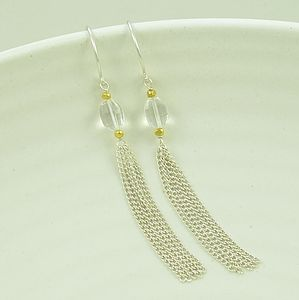 Shangri La Tassel Gemstone Silver Earrings
