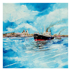 Steamer In Port Canvas Painting - mixed media & collage