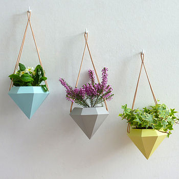 Diamond Hanging Planter - Set of three. From left: blue, grey, yellow.