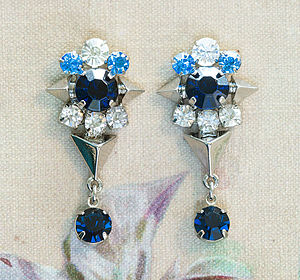 Cosimo Moonlight Blue Crystal Earrings - statement sparkle