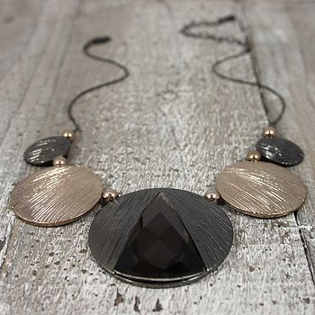 Gun Metal And Gold Disc Necklace