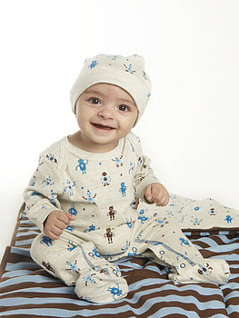 Robot Print Footed Sleepsuit