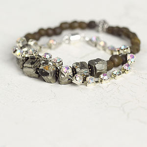 Rough Pyrite And Diamanté Bracelet Set - bracelets & bangles