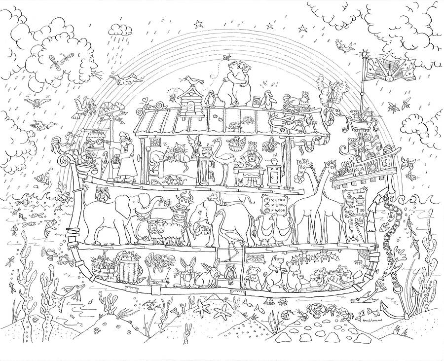 Noah 39 s ark colouring in poster by really giant posters for Noah ark coloring page