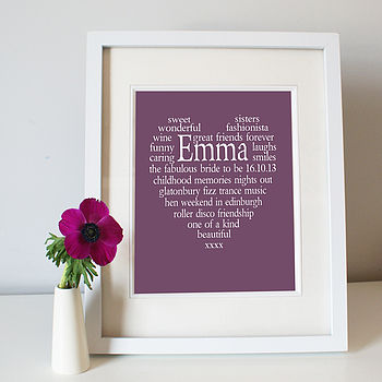 Bride to be Framed Aubergine