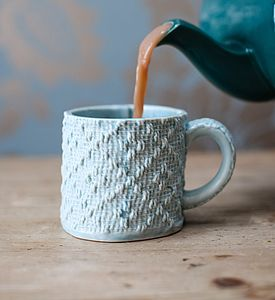 Porcelain Mug With Textile Textured Design - crockery & chinaware