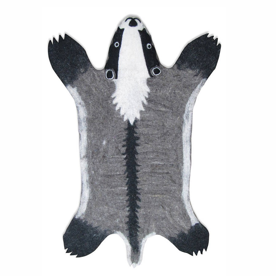 Billie Badger Handmade Felt Animal Rug By Sew Heart Felt