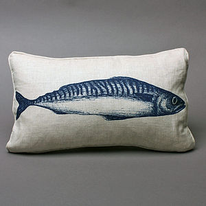 Hand Printed Mackerel Cushion - bedroom