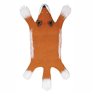 Fox Handmade Felt Animal Rug - children's room