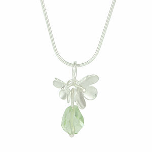 Silver Blossom With Green Amethyst Necklace