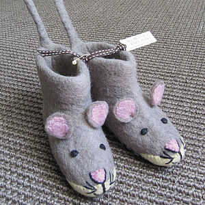 Children's Mae Mouse Felt Slippers - cosy clothing