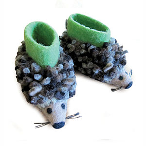 Children's Herby Hedgehog Felt Slippers