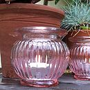 Pink Ridged Glass Votive