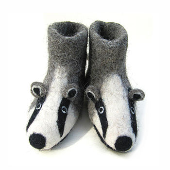 Children's Billie Badger Felt Slippers