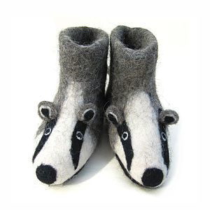 Children's Billie Badger Felt Slippers - woodland trend