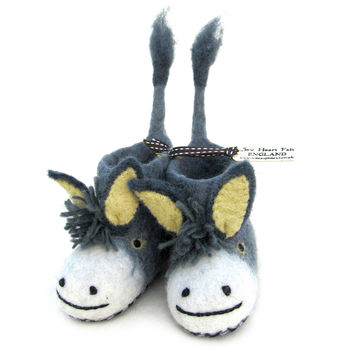 Children's Darci Donkey Felt Slippers