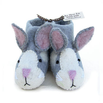 Children's Rory Rabbit Felt Slippers