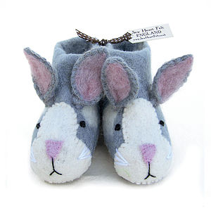 Children's Rory Rabbit Felt Slippers - 1st birthday gifts