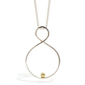 Silver With Gold Ball Twist Pendant
