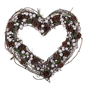 Large Berries And Cones Heart Wreath - flowers & plants