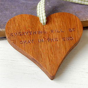 'Everything Will Be Okay' Wooden Heart