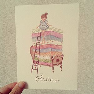 Personalised Princess And Pea Print