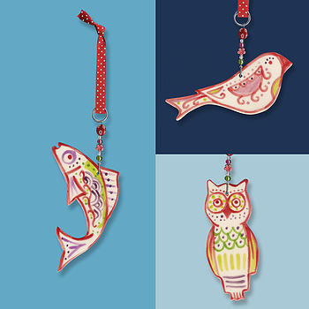 Colour Bird, Fish Or Owl Hanging Decoration