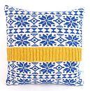 blue fairisle cushion