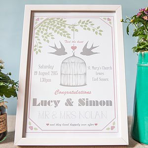 Lovebirds Personalised Wedding Day Print - posters & prints