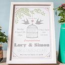 Lovebirds Personalised Wedding Day Print