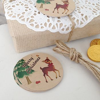 Pack Of 10 Retro Style Festive Deer Christmas Gift Tags