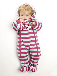 Girls Striped Pramsuit - clothing