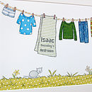 Boys Clothes Washing Line Print