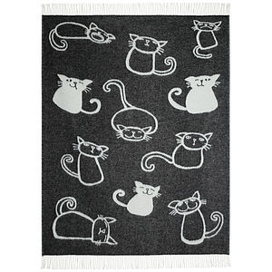 Cats Wool Throw - bedroom