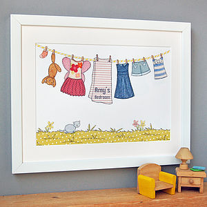 Personalised Little Girl's Washing Line Print - nursery pictures & prints