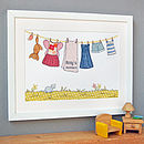 Personalised Children's Pink Washing Line Print