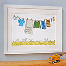 Personalised Little Boy's Washing Line Print
