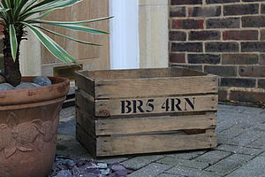 Personalised Postcode Stencilled Crate - storage
