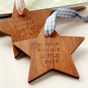 Personalised 'Twinkle Twinkle' Wooden Star - keepsakes