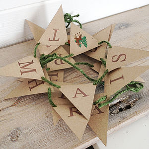 'Happy Christmas' Retro Deer Mini Bunting Kit - christmas decorations