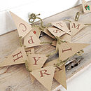 'Retro Festive Deer' Mini Bunting with Natural Rustic Twine