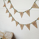 'Retro Festive Deer' Mini Bunting with Holly Green Rustic Twine